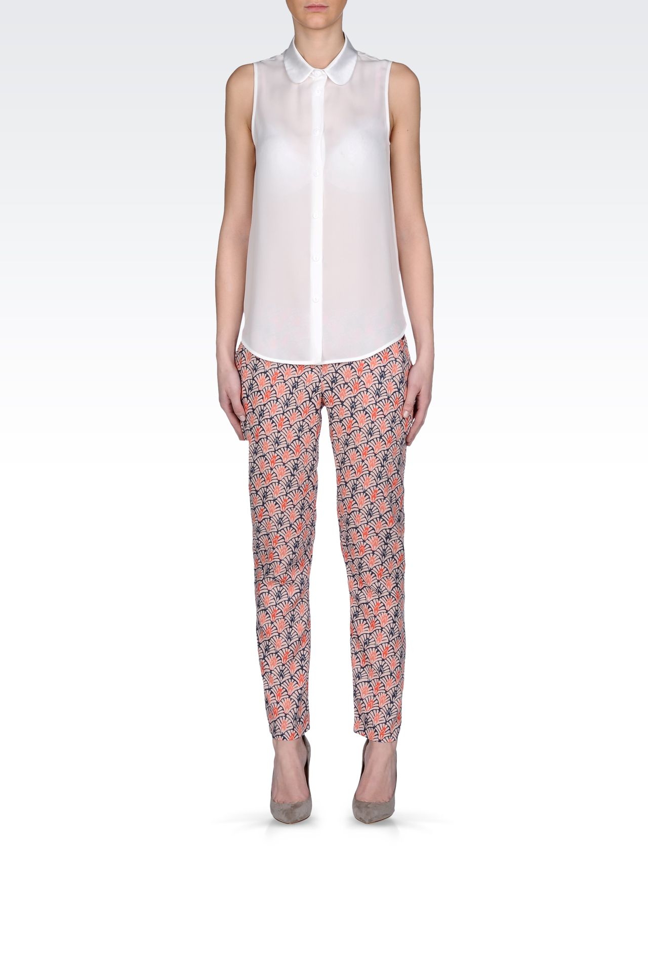 CROPPED PANTS IN PRINTED VISCOSE: Straight leg pants Women by Armani - 0