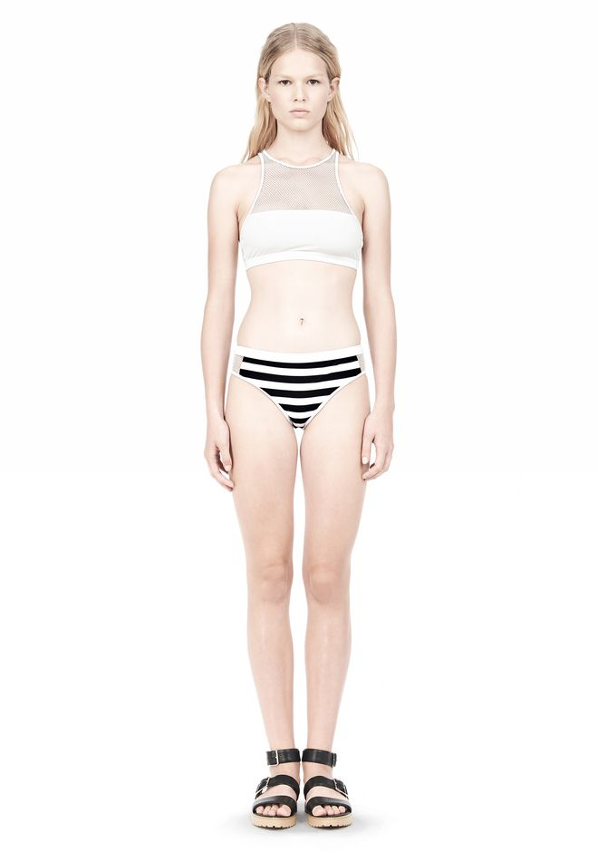 T by ALEXANDER WANG STRIPE MESH COMBO SWIM BOTTOM