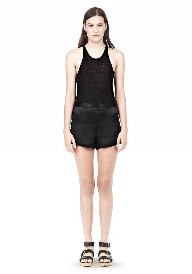 T by ALEXANDER WANG SILK SATIN SHORTS SHORTS Adult 12_n_f