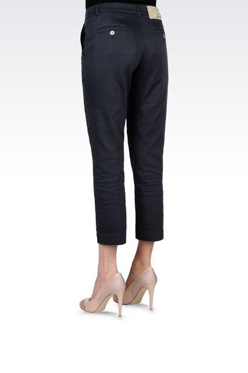CAPRI PANTS IN STRETCH COTTON: Straight leg pants Women by Armani - 3