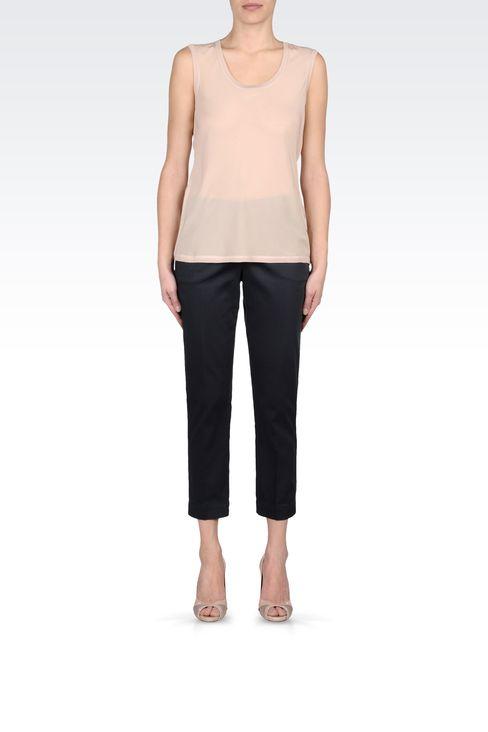 CAPRI PANTS IN STRETCH COTTON: Straight leg pants Women by Armani - 1