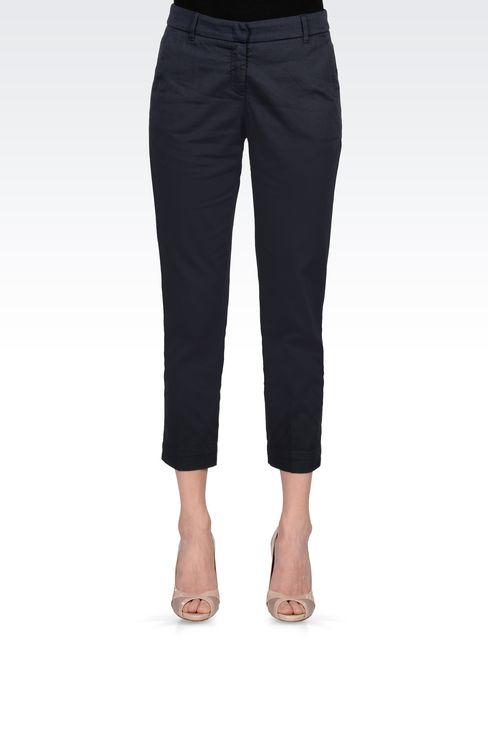 CAPRI PANTS IN STRETCH COTTON: Straight leg pants Women by Armani - 2