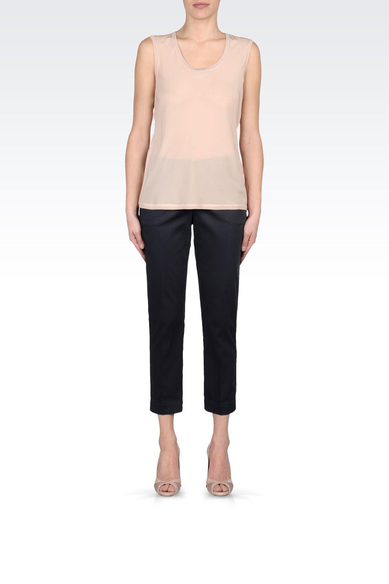CAPRI PANTS IN STRETCH COTTON: Straight leg pants Women by Armani - 0