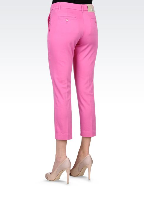 CAPRI PANTS IN STRETCH COTTON: Straight leg pants Women by Armani - 3