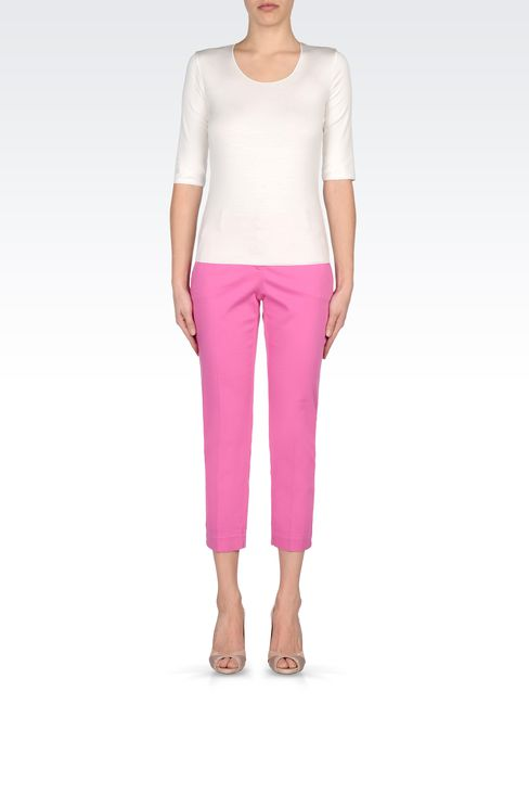 CAPRI PANTS IN STRETCH COTTON: Straight leg pants Women by Armani - 1