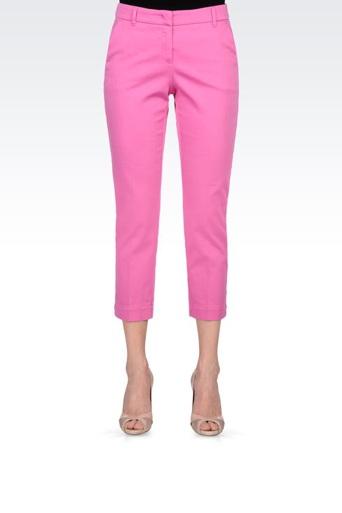 CAPRI PANTS IN STRETCH COTTON: Straight leg pants Women by Armani - 2