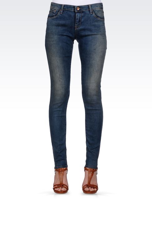 SKINNY JEANS IN STRETCH DENIM: Jeans Women by Armani - 2