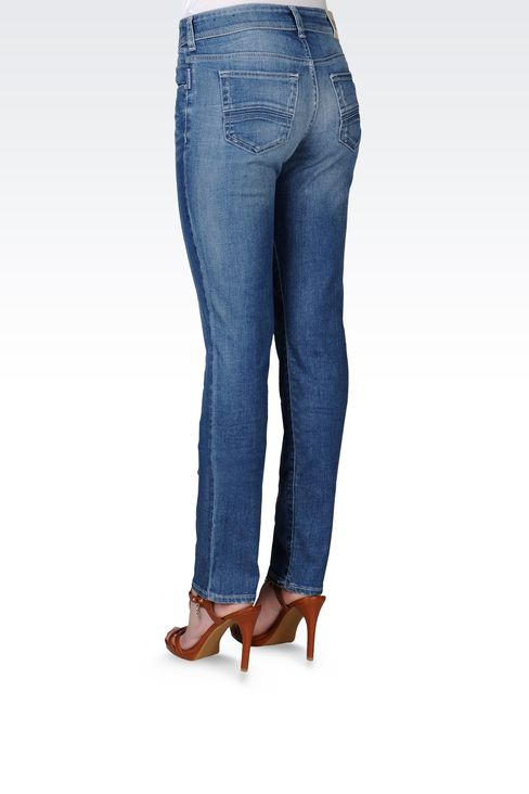 SLIM FIT VINTAGE EFFECT JEANS: Jeans Women by Armani - 3