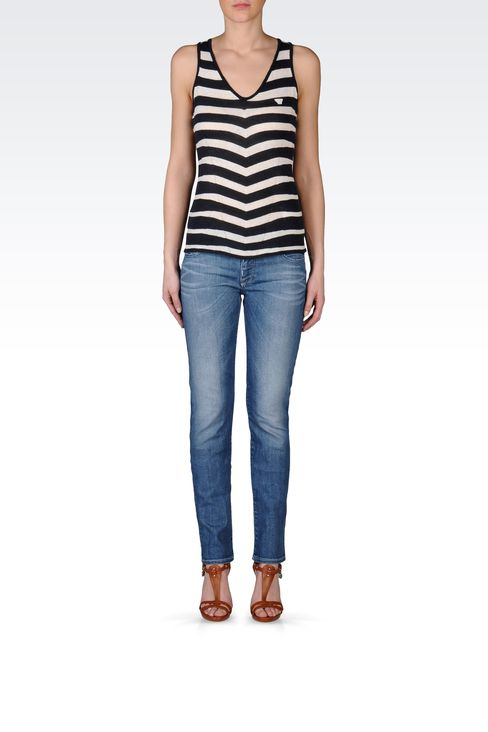 SLIM FIT VINTAGE EFFECT JEANS: Jeans Women by Armani - 1