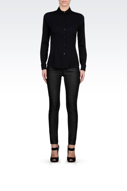 SUPER SKINNY BLACK WASH JEANS : Jeans Women by Armani - 2