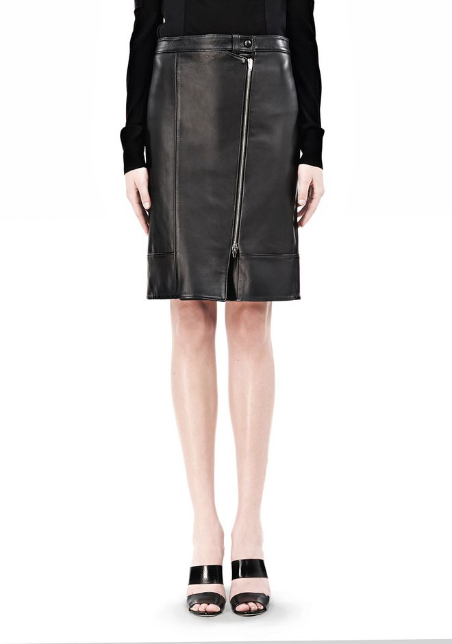 ALEXANDER WANG ASSYMETRIC LEATHER ZIP FRONT SKIRT Skirt Adult 12_n_d