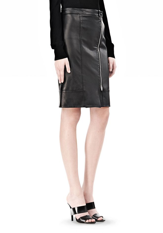 ALEXANDER WANG ASSYMETRIC LEATHER ZIP FRONT SKIRT Skirt Adult 12_n_e