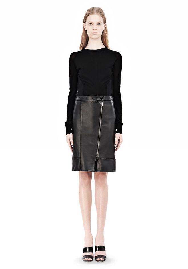 ALEXANDER WANG ASSYMETRIC LEATHER ZIP FRONT SKIRT