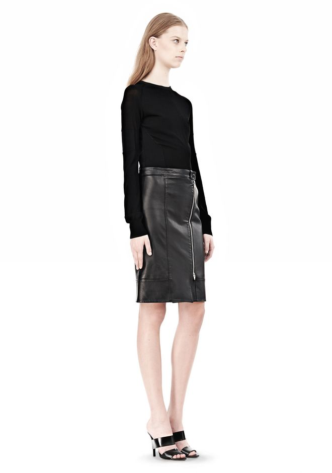 ALEXANDER WANG ASSYMETRIC LEATHER ZIP FRONT SKIRT Skirt Adult 12_n_r