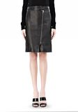 ALEXANDER WANG ASSYMETRIC LEATHER ZIP FRONT SKIRT Skirt Adult 8_n_d