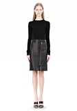 ALEXANDER WANG ASSYMETRIC LEATHER ZIP FRONT SKIRT Skirt Adult 8_n_f