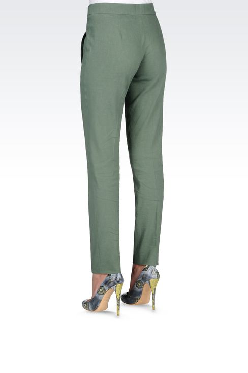 REGULAR FIT LINEN PANTS: Straight leg trousers Women by Armani - 3