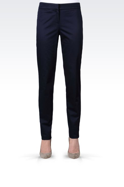 STRETCH COTTON PANTS: Straight leg pants Women by Armani - 3