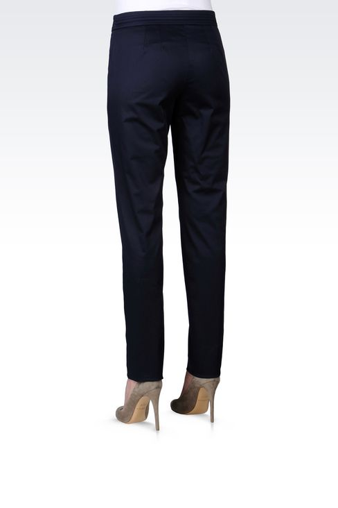 STRETCH COTTON PANTS: Straight leg pants Women by Armani - 4