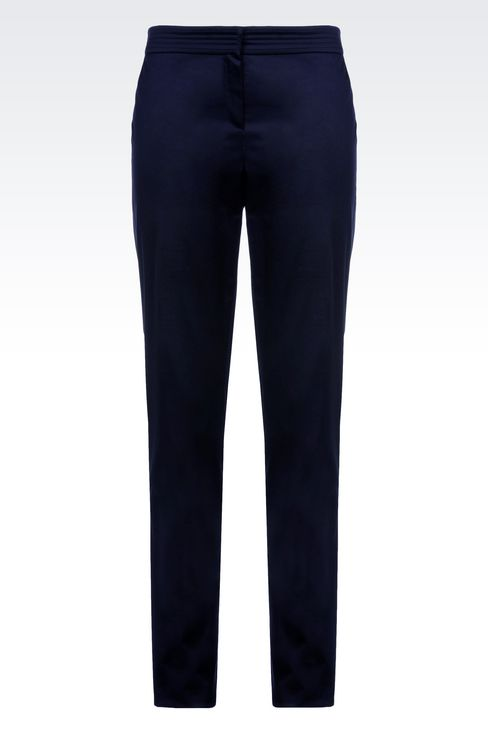 STRETCH COTTON PANTS: Straight leg pants Women by Armani - 1