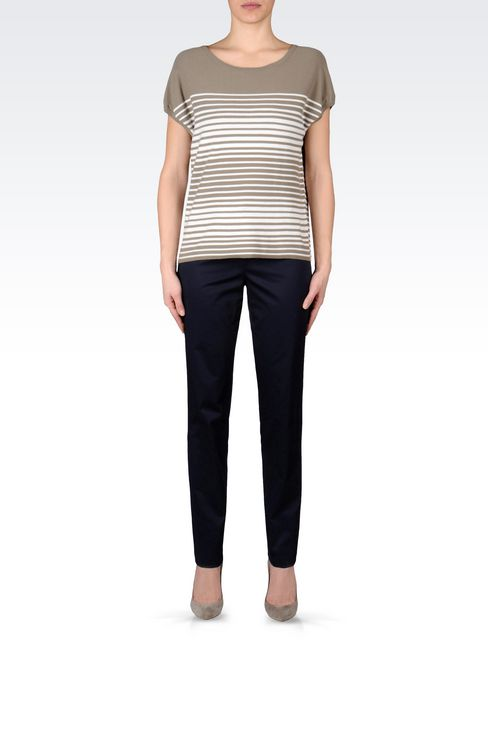 STRETCH COTTON PANTS: Straight leg pants Women by Armani - 2