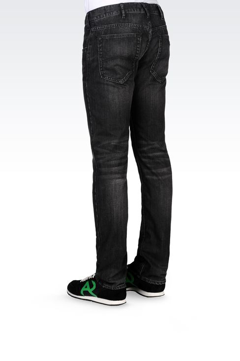 Armani Jeans Men SLIM FIT BLACK DENIM WASH JEANS - Armani.com
