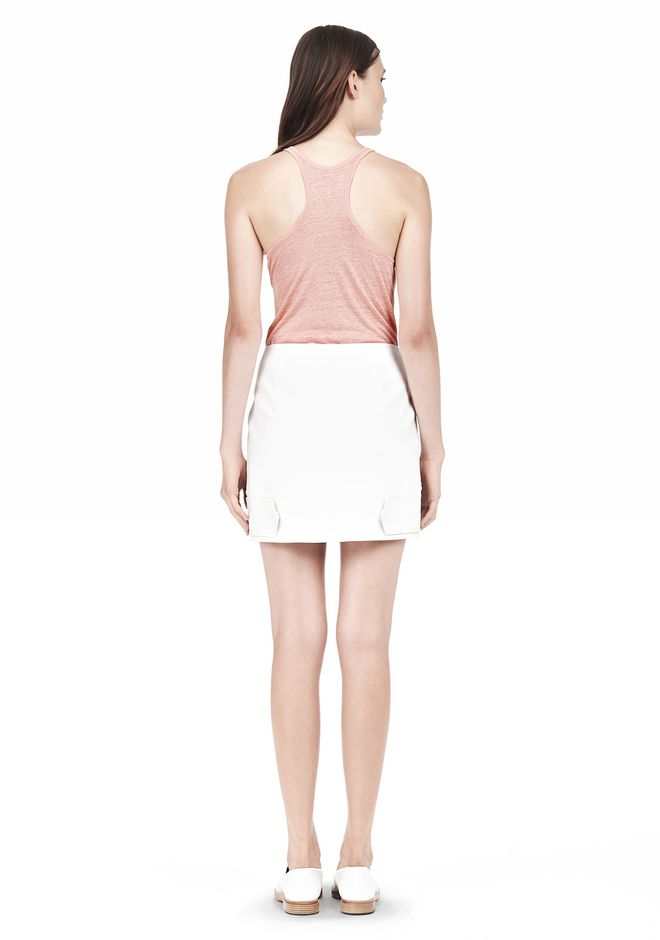 T by ALEXANDER WANG DOUBLE FACE STRETCH COTTON MINI SKIRT Skirt Adult 12_n_r