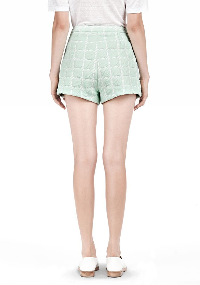 T by ALEXANDER WANG GRID JACQUARD BONDED NEOPRENE CROPPED SHORTS SHORTS Adult 12_n_d