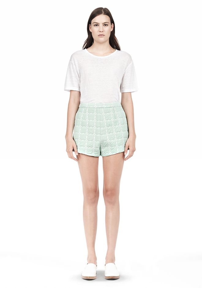 T by ALEXANDER WANG GRID JACQUARD BONDED NEOPRENE CROPPED SHORTS
