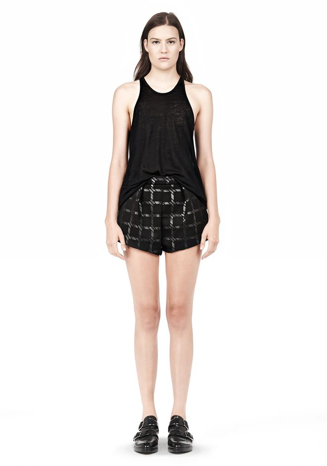 T by ALEXANDER WANG GRID PRINT NEOPRENE CROPPED SHORTS