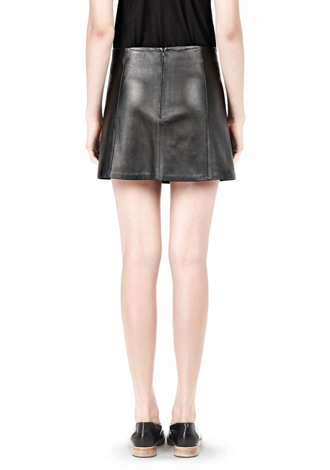 T by ALEXANDER WANG LIGHTWEIGHT A-LINE LEATHER SKIRT Skirt Adult 12_n_d
