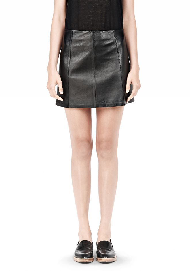 T by ALEXANDER WANG LIGHTWEIGHT A-LINE LEATHER SKIRT Skirt Adult 12_n_e