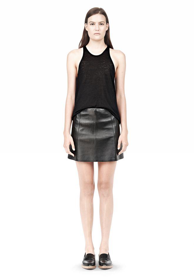 T by ALEXANDER WANG LIGHTWEIGHT A-LINE LEATHER SKIRT Skirt Adult 12_n_f
