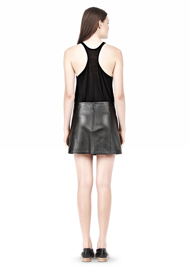 T by ALEXANDER WANG LIGHTWEIGHT A-LINE LEATHER SKIRT Skirt Adult 12_n_r