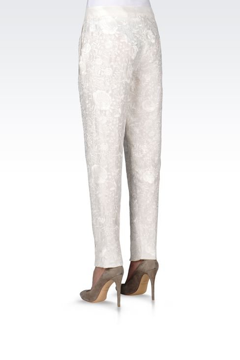 REGULAR FIT TROUSERS WITH EMBROIDERY: Straight leg trousers Women by Armani - 3