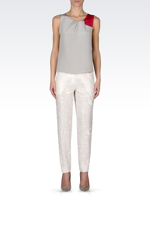 REGULAR FIT TROUSERS WITH EMBROIDERY: Straight leg trousers Women by Armani - 1