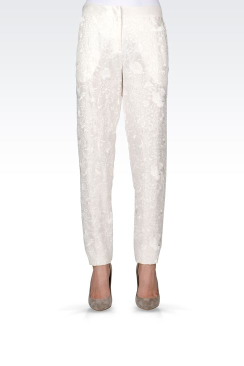 REGULAR FIT TROUSERS WITH EMBROIDERY: Straight leg trousers Women by Armani - 2