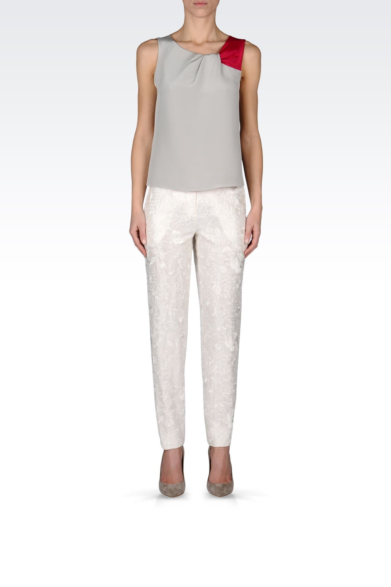 REGULAR FIT TROUSERS WITH EMBROIDERY: Straight leg trousers Women by Armani - 0