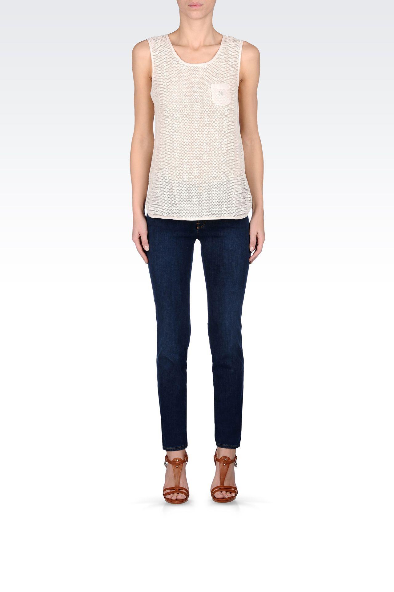 SKINNY JEANS IN STRETCH DENIM: Jeans Women by Armani - 0
