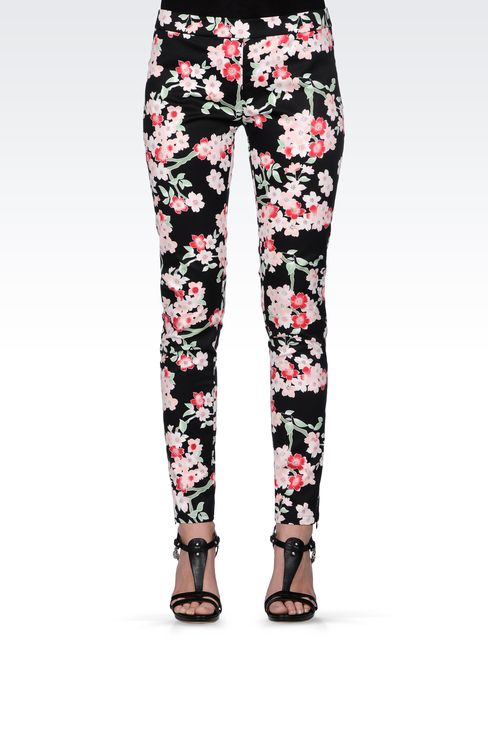 LEGGINGS IN STRETCH COTTON ORIENTAL PRINT: Straight leg pants Women by Armani - 2
