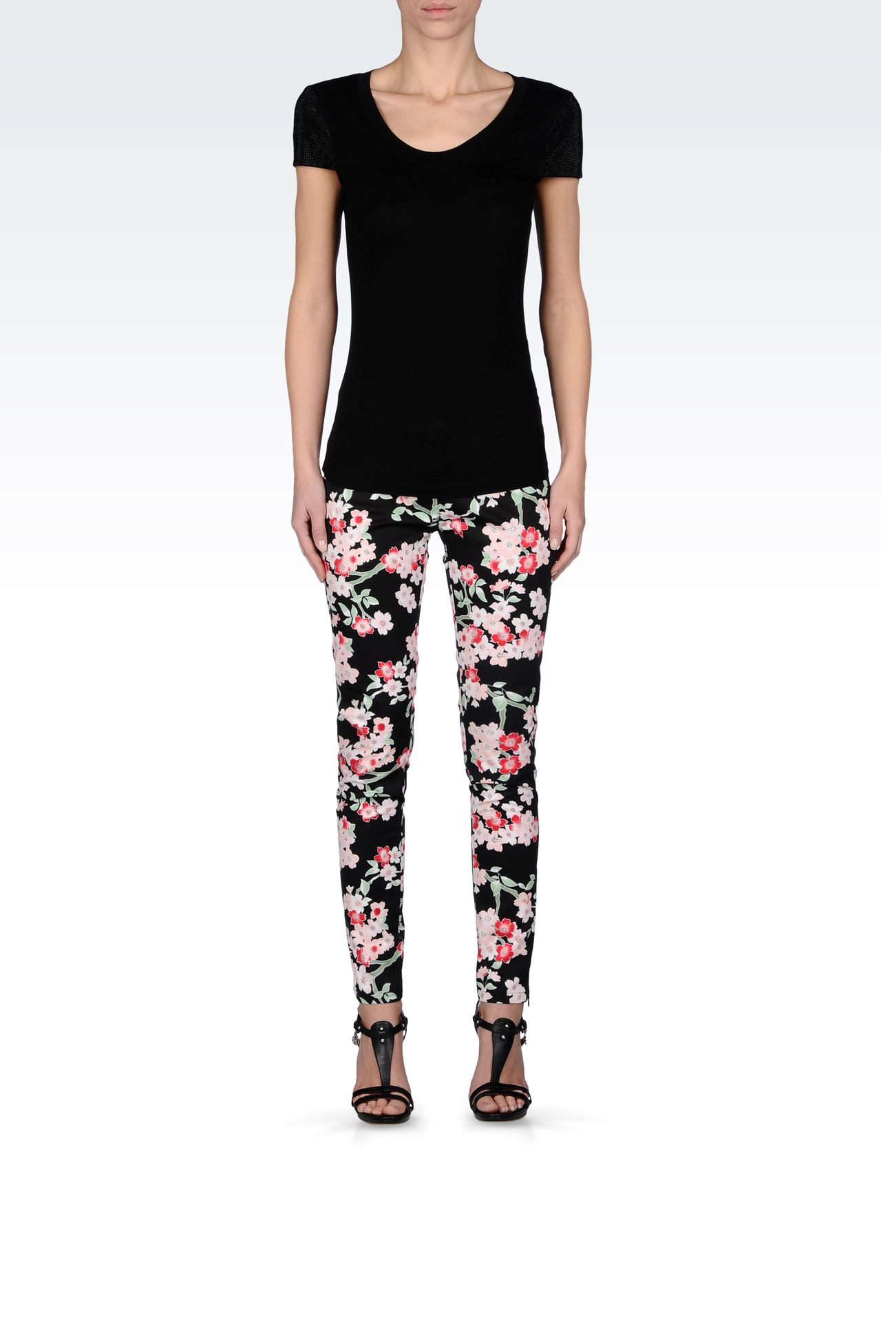 LEGGINGS IN STRETCH COTTON ORIENTAL PRINT: Straight leg pants Women by Armani - 0