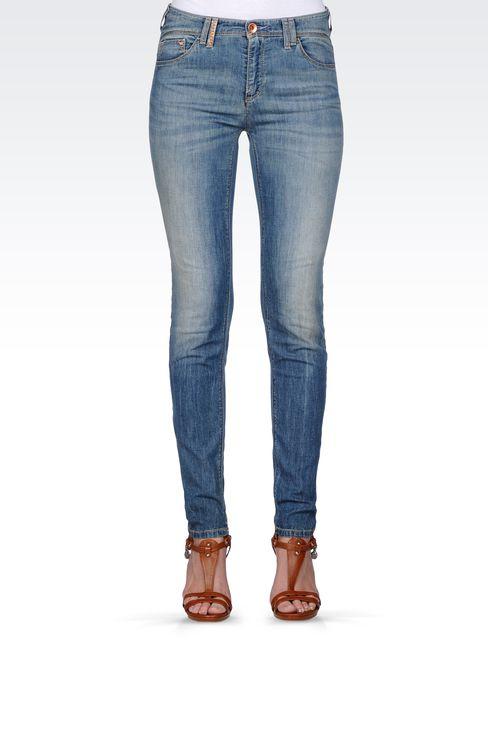 VINTAGE EFFECT SKINNY JEANS : Jeans Women by Armani - 2