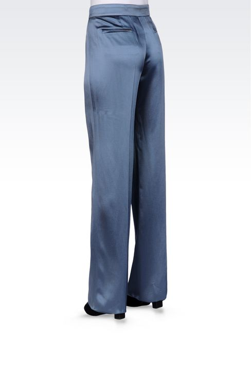 WIDE LEG PANTS IN MICRO STRIPE SATIN: Wide-leg trousers Women by Armani - 3