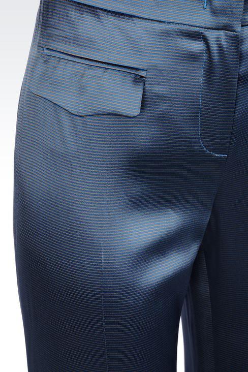 WIDE LEG PANTS IN MICRO STRIPE SATIN: Wide-leg trousers Women by Armani - 4