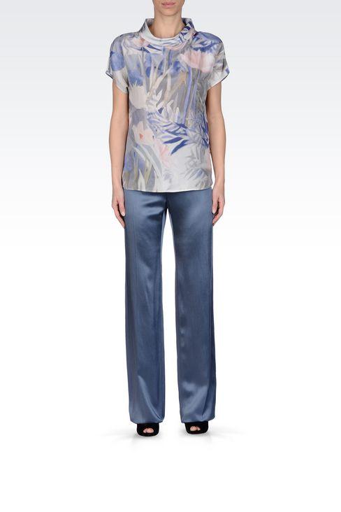 WIDE LEG PANTS IN MICRO STRIPE SATIN: Wide-leg trousers Women by Armani - 1