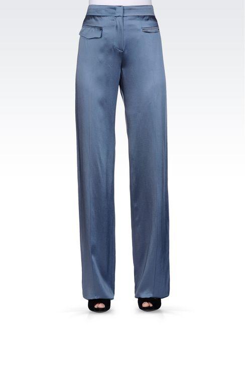 WIDE LEG PANTS IN MICRO STRIPE SATIN: Wide-leg trousers Women by Armani - 2