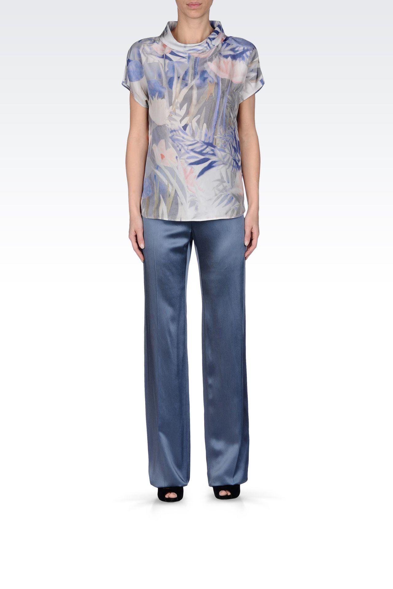 WIDE LEG PANTS IN MICRO STRIPE SATIN: Wide-leg trousers Women by Armani - 0