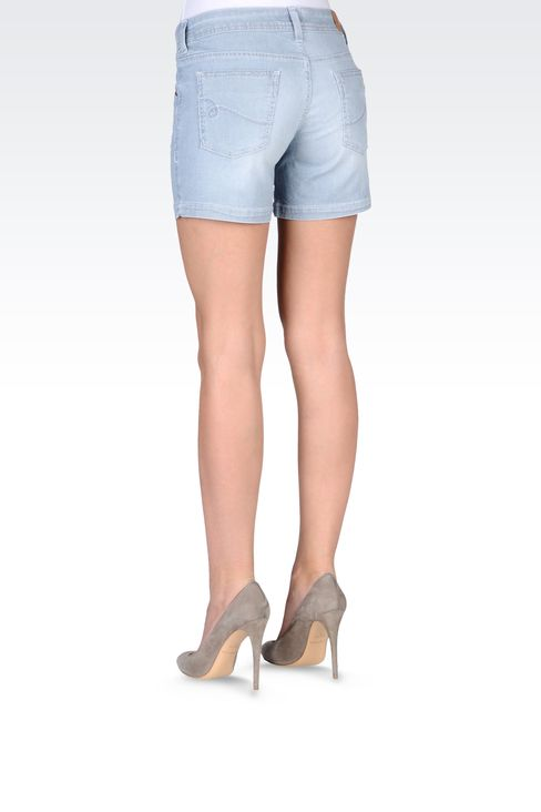 BERMUDA SHORTS IN MICRO STRIPE DENIM: Denim shorts Women by Armani - 3