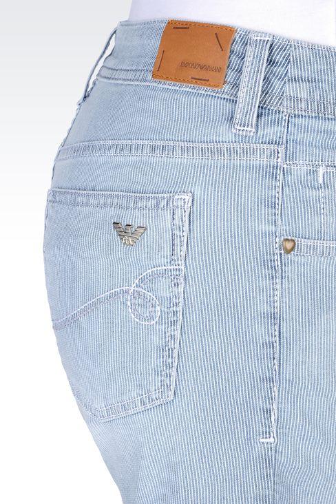 BERMUDA SHORTS IN MICRO STRIPE DENIM: Denim shorts Women by Armani - 4