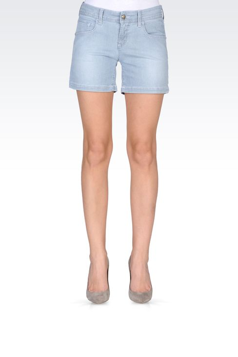 BERMUDA SHORTS IN MICRO STRIPE DENIM: Denim shorts Women by Armani - 2